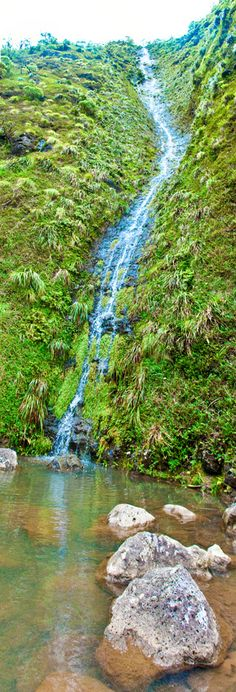 Moanalua Valley waterfall, Oahu, Hawaii.