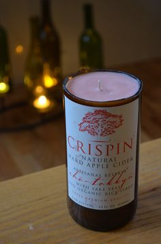 Recycled Cider Bottle Soy Candle with Crispin Hard Cider label by NuancesOfAmor