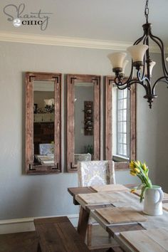 DIY Rustic Wall Mirrors made from cheap plastic framed full length mirrors from Walmart, Target, ect, dining room decor ideas Rustic Full Length Mirror, Rustic Wall Mirrors, Mirrors In Dining Room, Dinning Room Wall Decor, Rustic Wall Decor, Farmhouse Mirrors, Cheap Rustic Decor, Cheap Wall Decor, Home And Deco