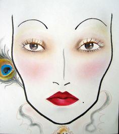 Marie Antoinette MAC face chart by Charity Daw   #maccosmetics #marieantoinette #russianred