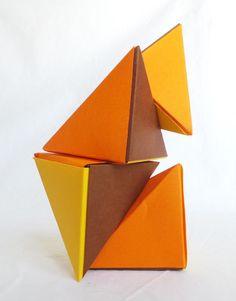 Casse tête Magnet Petit format en Origami: Les Tétraèdres magnétiques, citron, orange et chocolat