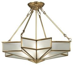 """Traditional Glass Star 24 3/4"""" Wide Antique Brass Pendant Light - $400 (thank goodness it's discontinued...)"""