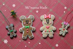 Mi*mama: decorated Christmas gingerbread Mickey and Minnie Mouse character sugar cookies