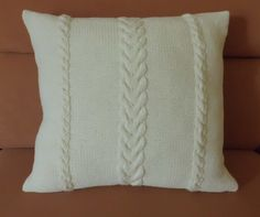 Ivory 14x14 knitted cushion cable knit pillow  by Adorablewares, $31.00