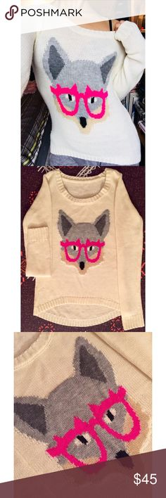"Trending! 🦊 ""Fox with Glasses"" Sweater. Adorably cute cream colored lightweight sweater. Super soft stretch fabric & delicate feel. Low scoop neck.  Hi-low front hem.   22"" Long (front).  25"" Long (back). 15.5"" Wide.  25"" Sleeves.   ORIGINAL SAMPLE.  Rare! New, without tag.  *Please note:  2 small snags on bottom of front left side.  Refer to 3rd photo.  Perfect with jeans or leggings. Sweaters Crew & Scoop Necks"