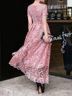 Pink Polyester Vintage Maxi Dress