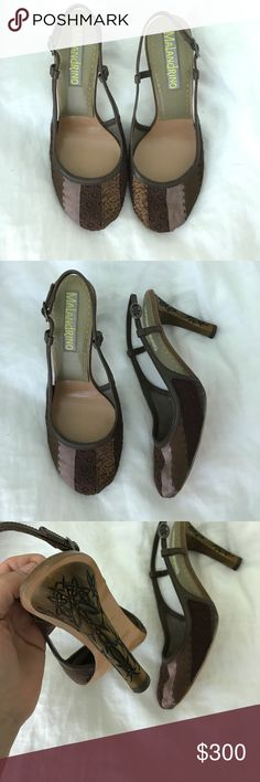 Catherine Malandrino Alabama Patchwork Slingback Brand new, never worn Alabama Patchwork Slingback heel with carved detailing. See pics. Comes in original box. Retail $585 Catherine Malandrino Shoes