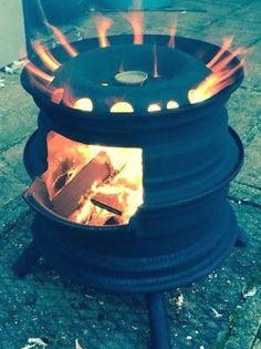 Rim Fire Pit, Barrel Fire Pit, Wheel Fire Pit, Fire Pit Grill, Metal Fire Pit, Cool Fire Pits, Fire Pit Backyard, Fire Fire, Barrel Grill