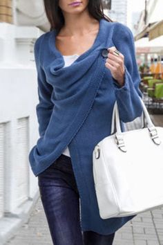 Elegant Solid Color Cowl Neck Slit Asymmetric Pullover Sweater For Women