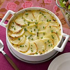 Scalloped Potatoes Recipe Side Dishes with onions, red potato, salt, pepper, gruyere cheese, unsalted butter, milk