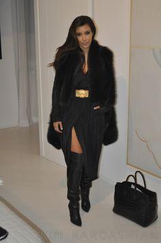Kim Kardashian - Velvet Dress, Black & Gold Belt, Fur Coat & Thigh-High Boots