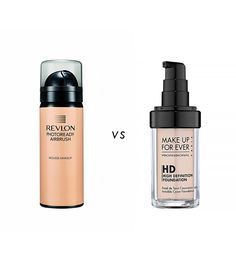 Revlon PhotoReady Airbrush Effect Makeup ($12) is drugstore version of Make Up For Ever HD Invisible Cover Foundation ($43). // byrdie
