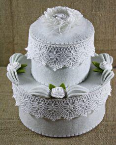 "Felt Box/Felt Wedding Cake /Felt Cake/Jewelry Box/Home Decor/""Wedding Double Cake"" (55.00 EUR) by FeltGoodiesShop"
