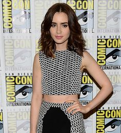 Lily Collins: baring her midriff in style.  Photograph: Ethan Miller/Getty Images