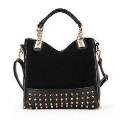 $10.75 Fashion Women's Tote Bag With Rivets and Chains Design