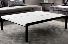 Custom made stone and steel coffee table - Aguirre Design
