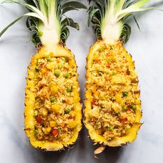 Thai Pineapple Fried Rice, Cut Pineapple, Pineapple Boats, Fried Rice Recipe Video, Veggie Stir Fry, Plant Based Nutrition, Sweet And Spicy, Quick Recipes, Recipes