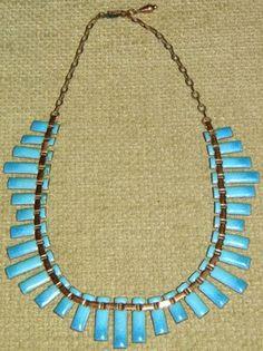 Vintage Matisse Renoir Blue Enamel Copper Necklace, PETER PAN