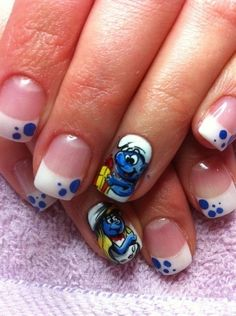 les stroumphs by valerieducharme Nail Art Gallery nailartgallery.na by Nail - les stroumphs by valerieducharme Nail Art Gallery nailartgallery.na by Nail - So Nails, Funky Nails, Cute Nails, Pretty Nails, Shellac, Simple Disney Nails, Comic Nail Art, Crazy Nail Art, Finger
