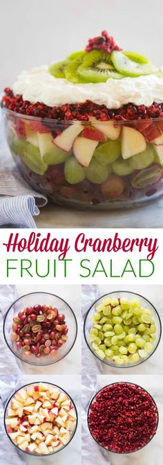 Holiday Cranberry Fruit Salad topped with fresh cranberries and a delicious vanilla yogurt whipped cream. A delicious, beautiful, festive side dish for the holidays.