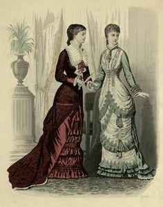 Mody Paryzkie 1880 1880s Fashion, Victorian Fashion, Vintage Fashion, Victorian Illustration, Fashion Illustration Vintage, Victorian Women, Victorian Era, Victorian Costume, 19th Century Fashion
