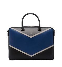 Medium Ottomar Briefcase in Chevron Leather Navy Blue Briefcase For Men, Work Wardrobe, Luxury Travel, Travel Bags, Laptop Sleeves, Chevron, Mens Fashion, Briefcases, Leather