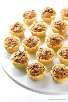 Pecan Tassies Recipe ~ like mini pecan pies Cookie Desserts, Just Desserts, Cookie Recipes, Delicious Desserts, Dessert Recipes, Pecan Desserts, Italian Desserts, Dessert Ideas, Mini Pecan Pies