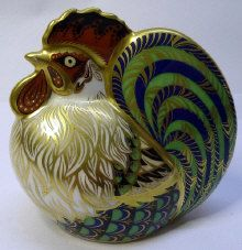 A Royal Crown Derby Limited Edition paperweight, Farmyard Cockerel, numbered 3964/5000, with gold stopper, signed  Sold For: £75