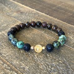 African Turquoise, Bronzite, and Oil Diffusing Lava bead bracelet – Lovepray jewelry