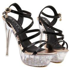 2017 Size 35-43 Fashion Transparent Sexy Cross Straps Women Platform Sandals Ladies Pumps High Heels Shoes Woman Summer style