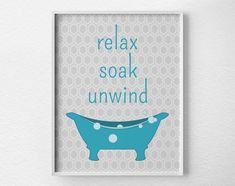 Bathroom Art Relax Soak Unwind Bathroom by LotusLeafCreations