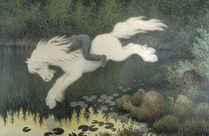 Boy on white horse by Theodor Kittelsen