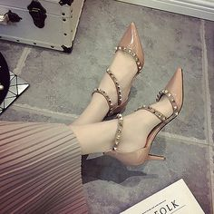 Sexy Womens high heels pumps rivets studded pointy toe shoes...