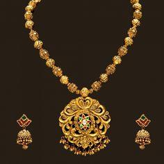 Gold antique Necklace Set (110A16040-108A42544) | Vummidi Bangaru Jewellers