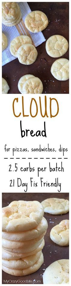 This low carb Cloud Bread recipe has just 2.5 carbs per batch–that's about 15 cracker-sized pieces. It's great for those on a low carb diet, a gluten free diet, on the 21 Day Fix, or even just those w (21 Day Fix Recipes Pizza)