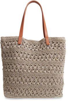 Nordstrom Packable Raffia Crochet Tote - Bag and Purse Free Crochet Bag, Crochet Shell Stitch, Crochet Clutch, Crochet Handbags, Crochet Purses, Bead Crochet, Crochet Chart, Crochet Ideas, Crotchet Bags