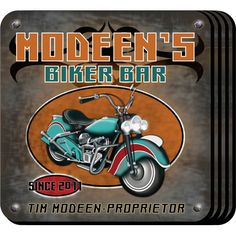 "Biker Personalized Motorcycle Beer Coaster Set. The motorcycle owner or home bartender will appreciate these sets of four richly detailed, waterproof motorcycle coasters, which reflect his fave activity. Our Biker Personalized Drink Coaster Set's personalized design is printed in full color onto a non-skid cork base. Includes 4 coasters and mahogany caddy for storage. Each coaster measures 3.75"" x 3.75"". Specify name, and year."