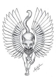 Egyptian Goddess Bastet most commonly associated with cats, hints the cat face. - Egyptian Goddess Bastet most commonly associated with cats, hints the cat face. Kunst Tattoos, Tattoo Drawings, Body Art Tattoos, Sleeve Tattoos, Art Drawings, Ankle Tattoos, Girl Leg Tattoos, Egyptian Cat Tattoos, Egyptian Cats
