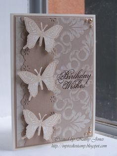Makes me think of quiet grace. Uses layers, DSP, edge punch. I could use Cheery Lynn butterfly die cuts on a CASE of this card.