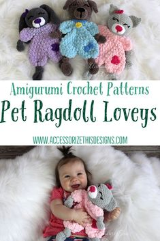The Pet Ragdoll Lovey collection is shown in Premier Parfait Yarn (with instructions for Worsted Weight yarn), for extra soft snuggles. The pattern includes video tutorials to help you along the way. Crochet Lovey Free Pattern, Crochet Patterns Amigurumi, Crochet Dolls, Crochet Yarn, Amigurumi Toys, Mug Rug Patterns, Lovey Blanket, Baby Shower Gifts For Boys, Cute Stuffed Animals