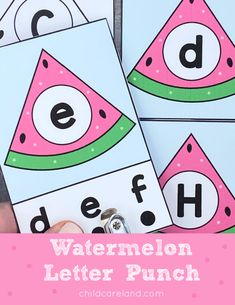 Watermelon Letter Punch Cards Early Learning Activities, Classroom Activities, Summer Activities, Letter Recognition, Hole Punch, White Patterns, Fine Motor, Watermelon, Card Stock
