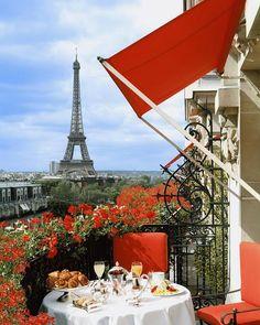 Breakfast on a balcony overlooking the Eiffel Tower, Hôtel Plaza Athénée, Paris