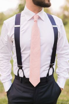 Wedding Color Schemes Discover Colorful Sunset Wedding Ideas navy and pink groomsmen attire with tie Blush Groomsmen, Groomsmen Attire Navy, Groomsmen Suspenders, Bridesmaids And Groomsmen, Groom Attire Rustic, Suspenders And Tie, Wedding Suspenders, Suit And Tie, Sunset Wedding