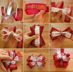 22 Creative Christmas Wrapping & Packaging Ideas: DIY Christmas Present Bow Tutorial Christmas Present Bow, Diy Christmas Presents, Christmas Bows, Christmas Gift Wrapping, Christmas Crafts, Christmas Ideas, Bows For Presents, Cheap Christmas, How To Tie A Christmas Bow