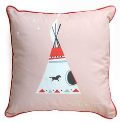 This supersoft organic cushion is one of four designs of the Great Adventure: A Native American inspired series for a happy kids room and those who...