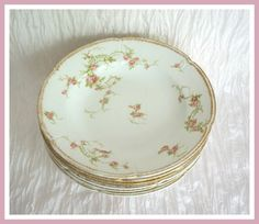 Antique CH Field GDA Limoges Soup Plates Pink Roses