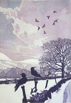 Kettlewell in winter. Linocut. Size 40 x 30cms