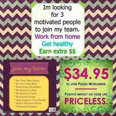 Looking for more income? Become a Plexus Ambassador! Ask me for more details. tgregory1215@gmail.com; tinagregory.myplexusproducts.com/