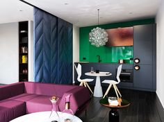 Space-age style meets luxurious glamour in this apartment designed by Tom Dixon's Design Research Studio. Would you live here? #homeishere
