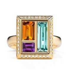 """Andrew Geoghegan """"Chocolate Box"""" Ring (pictured with Aquamarine, Madeira Citrine, and Amethyst)... so awesome, I just love this."""